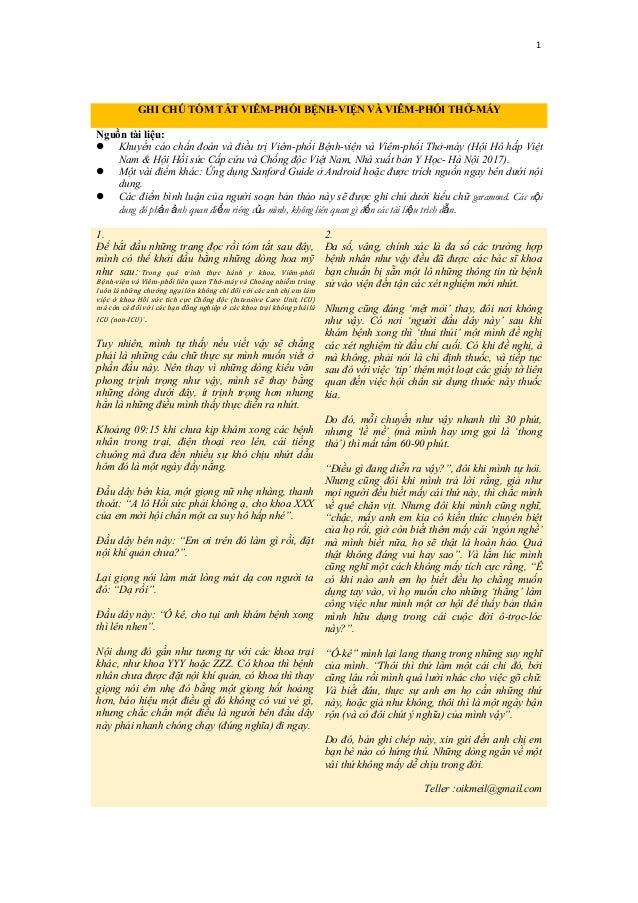 1 GHI CHÚ TÓM TẮT VIÊM-PHỔI BỆNH-VIỆN VÀ VIÊM-PHỔI THỞ-MÁY Nguồn tài liệu:  Khuyến cáo chẩn đoán và điều trị Viêm-phổi Bệ...