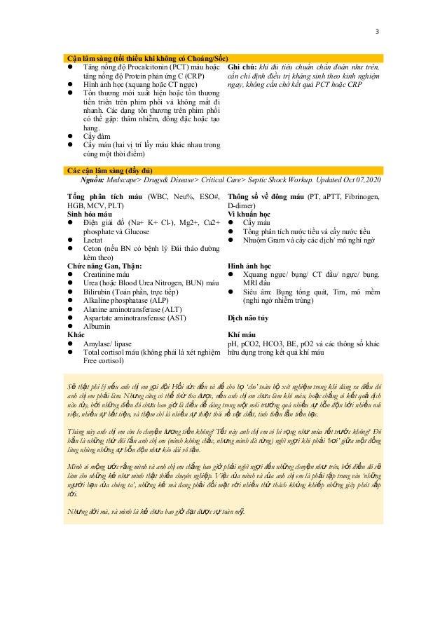 3 Cận lâm sàng (tối thiểu khi không có Choáng/Sốc)  Tăng nồng độ Procalcitonin (PCT) máu hoặc tăng nồng độ Protein phản ứ...