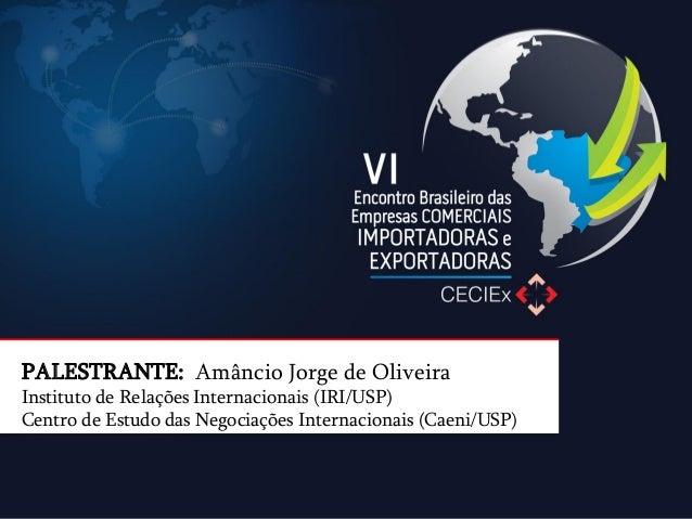 PALESTRANTE: Amâncio Jorge de Oliveira Instituto de Relações Internacionais (IRI/USP) Centro de Estudo das Negociações Int...