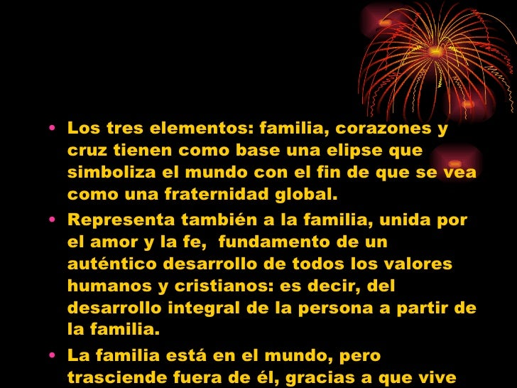 <ul><li>Los tres elementos: familia, corazones y cruz tienen como base una elipse que simboliza el mundo con el fin de que...