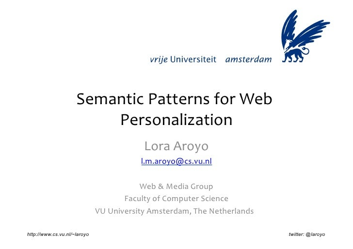 Semantic	  Patterns	  for	  Web	                           Personalization       	                                        ...