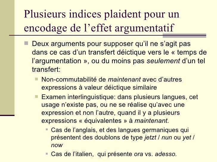 Plusieurs indices plaident pour un encodage de l'effet argumentatif <ul><li>Deux arguments pour supposer qu'il ne s'agit p...