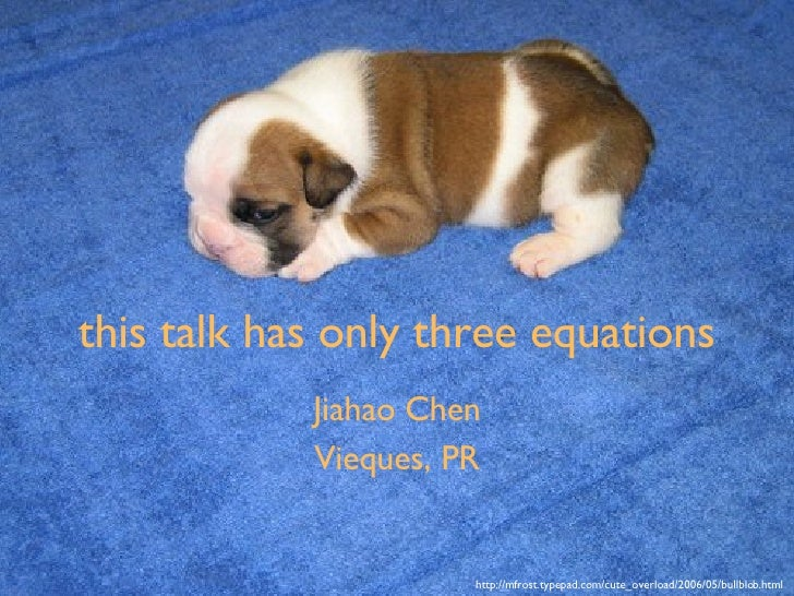this talk has only three equations Jiahao Chen Vieques, PR http://mfrost.typepad.com/cute_overload/2006/05/bullblob.html