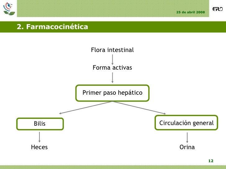 2. Farmacocinética Forma activas Primer paso hepático Circulación general Bilis Orina Heces Flora intestinal