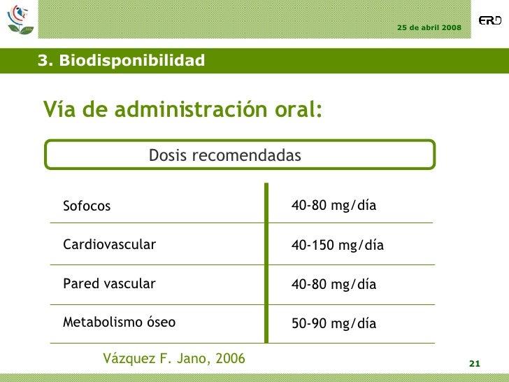 3. Biodisponibilidad <ul><li>Vía de administración oral: </li></ul>Dosis recomendadas Vázquez F. Jano, 2006 Sofocos Cardio...