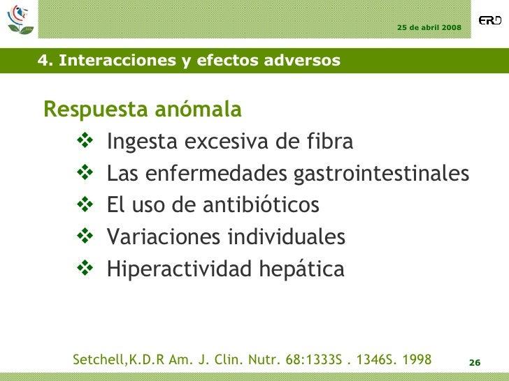 4. Interacciones y efectos adversos <ul><li>Respuesta anómala  </li></ul><ul><ul><li>Ingesta excesiva de fibra  </li></ul>...