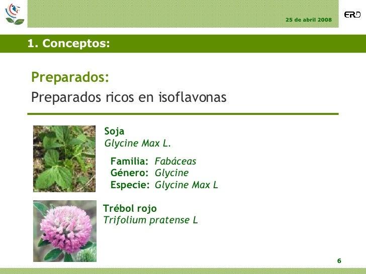 1. Conceptos: <ul><li>Preparados: </li></ul><ul><li>Preparados ricos en isoflavonas </li></ul>Soja Glycine Max L. Familia:...