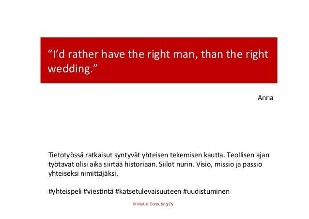 """""""I'd  rather  have  the  right  man,  than  the  right   wedding.""""   Anna   Tietotyössä  ratkaisut..."""