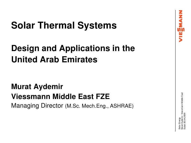 Solar Thermal Systems  Design and Applications in the United Arab Emirates   Murat Aydemir                                ...