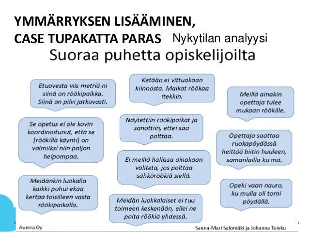 YMMÄRRYKSEN LISÄÄMINEN, CASE TUPAKATTA PARAS AVUSTUSOSASTO | ELINA VARJONEN | 19.10.2015 7 Nykytilan analyysi