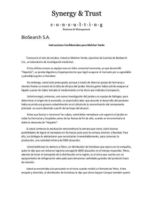 Synergy & Trust c · o · n · s · u · l · t · i · n · g Business & Management BioSearch S.A. Instrucciones Confidenciales pa...