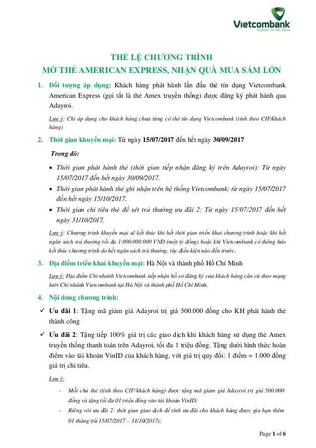 Page 1 of 6 THỂ LỆ CHƯƠNG TRÌNH MỞ THẺ AMERICAN EXPRESS, NHẬN QUÀ MUA SẮM LỚN 1. Đối tượng áp dụng: Khách hàng phát hành l...