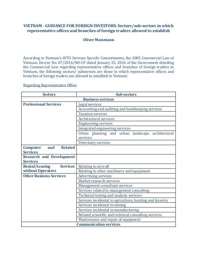VIETNAM - GUIDANCE FOR FOREIGN INVESTORS: Sectors/sub-sectors in which representative offices and branches of foreign trad...