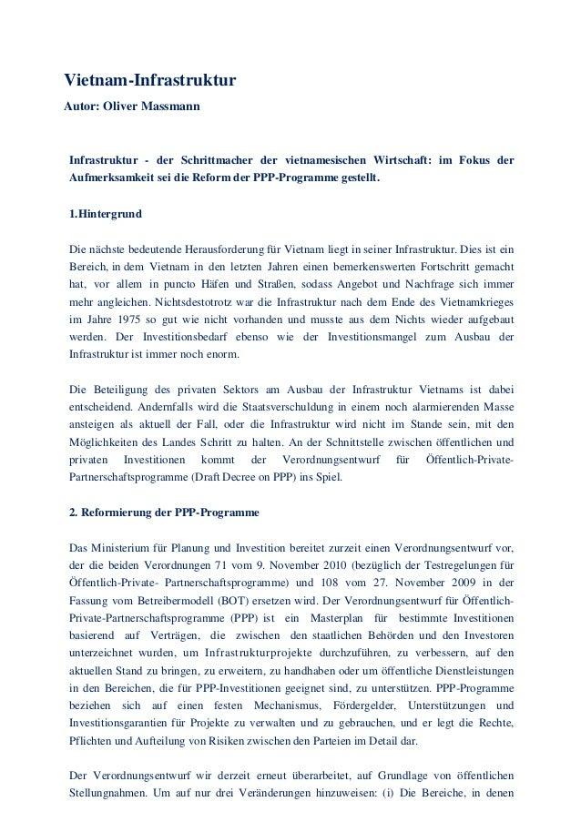 Vietnam-Infrastruktur Autor: Oliver Massmann Infrastruktur - der Schrittmacher der vietnamesischen Wirtschaft: im Fokus de...