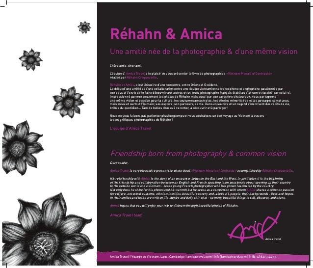 Réhahn & Amica Une amitié née de la photographie & d'une même vision Chère amie, cher ami, L'équipe d' Amica Travel a le ...