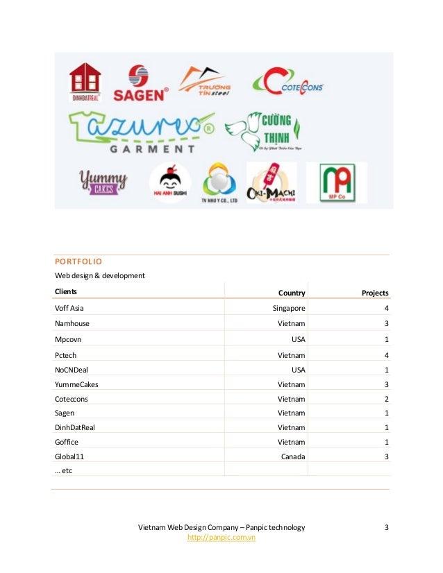 Vietnam Web Design Company – Panpic technology http://panpic.com.vn 3 PORTFOLIO Web design & development Clients Country P...