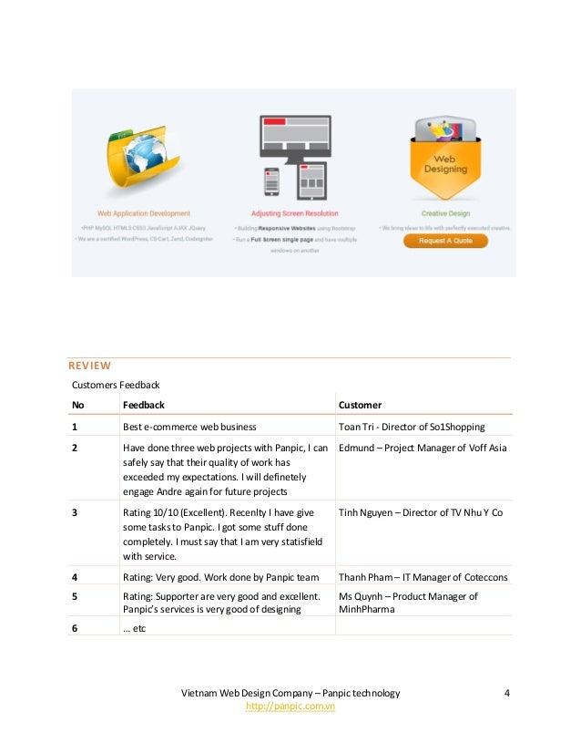 Vietnam Web Design Company – Panpic technology http://panpic.com.vn 4 REVIEW Customers Feedback No Feedback Customer 1 Bes...