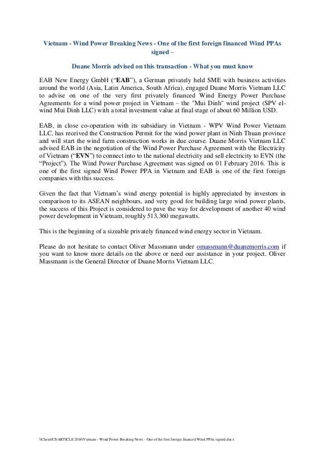 ClientC$ARTICLE 2016Vietnam - Wind Power Breaking News - One of the first foreign financed Wind PPAs signed.docx Vietnam -...