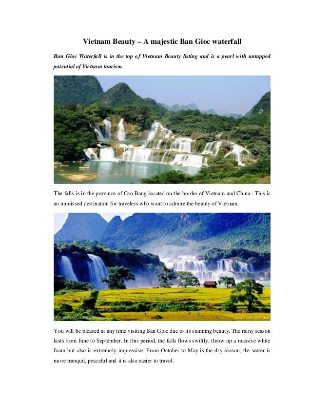 Vietnam Beauty – A majestic Ban Gioc waterfall Ban Gioc Waterfall is in the top of Vietnam Beauty listing and is a pearl w...