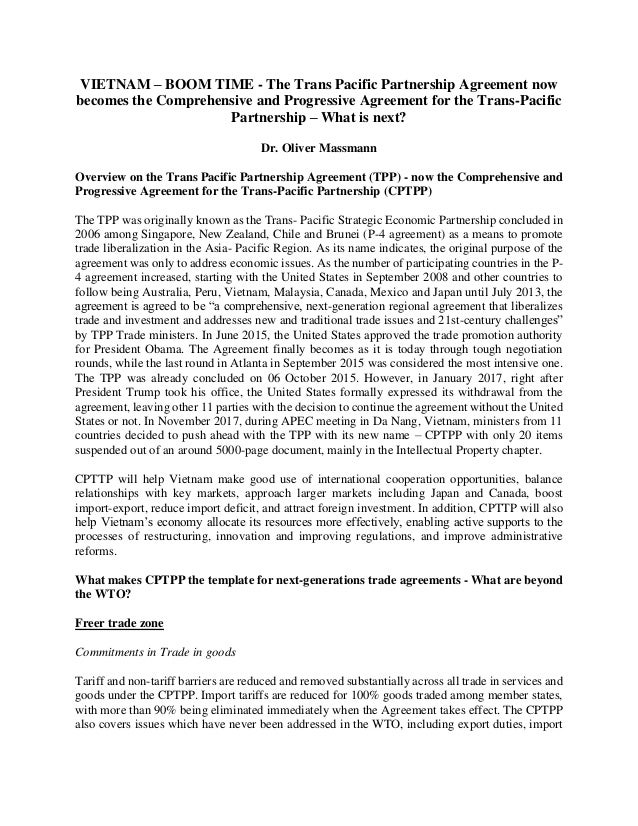 VIETNAM – BOOM TIME The Trans Pacific Partnership
