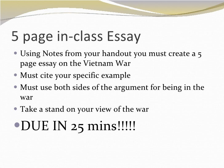vietnam ends 5 page in class essay