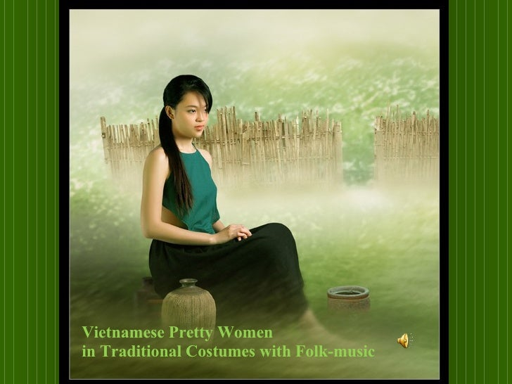 Vietnamese Pretty Women  in Traditional Costumes with Folk-music