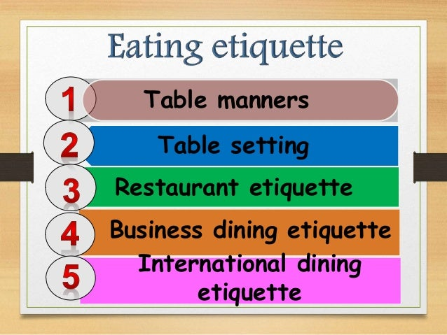 Table Setting Restaurant Etiquette Manners Business Dining