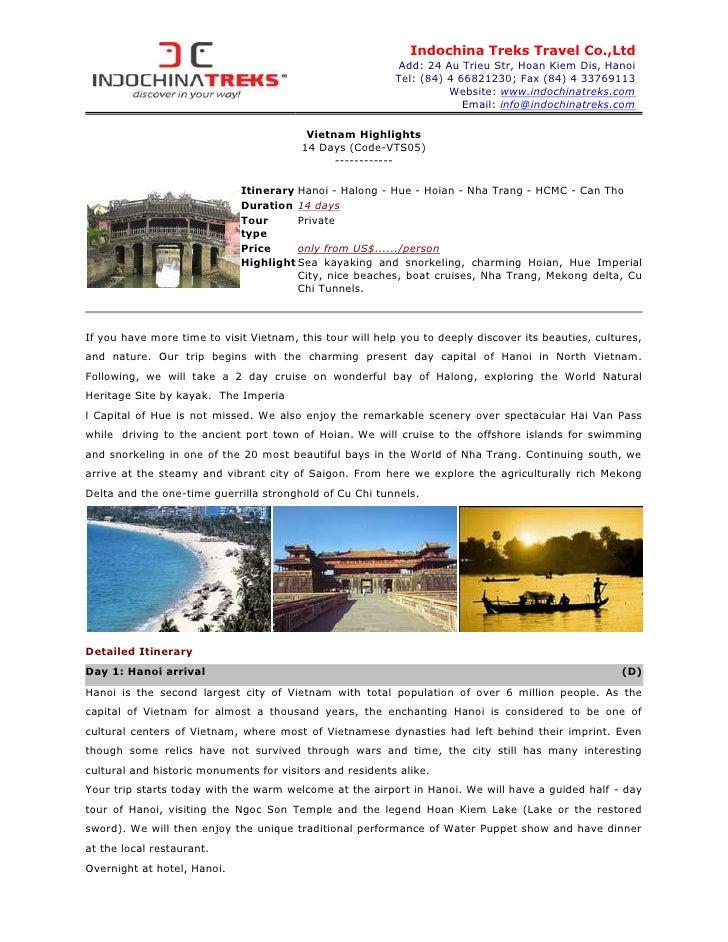 Indochina Treks Travel Co.,Ltd                                                           Add: 24 Au Trieu Str, Hoan Kiem D...