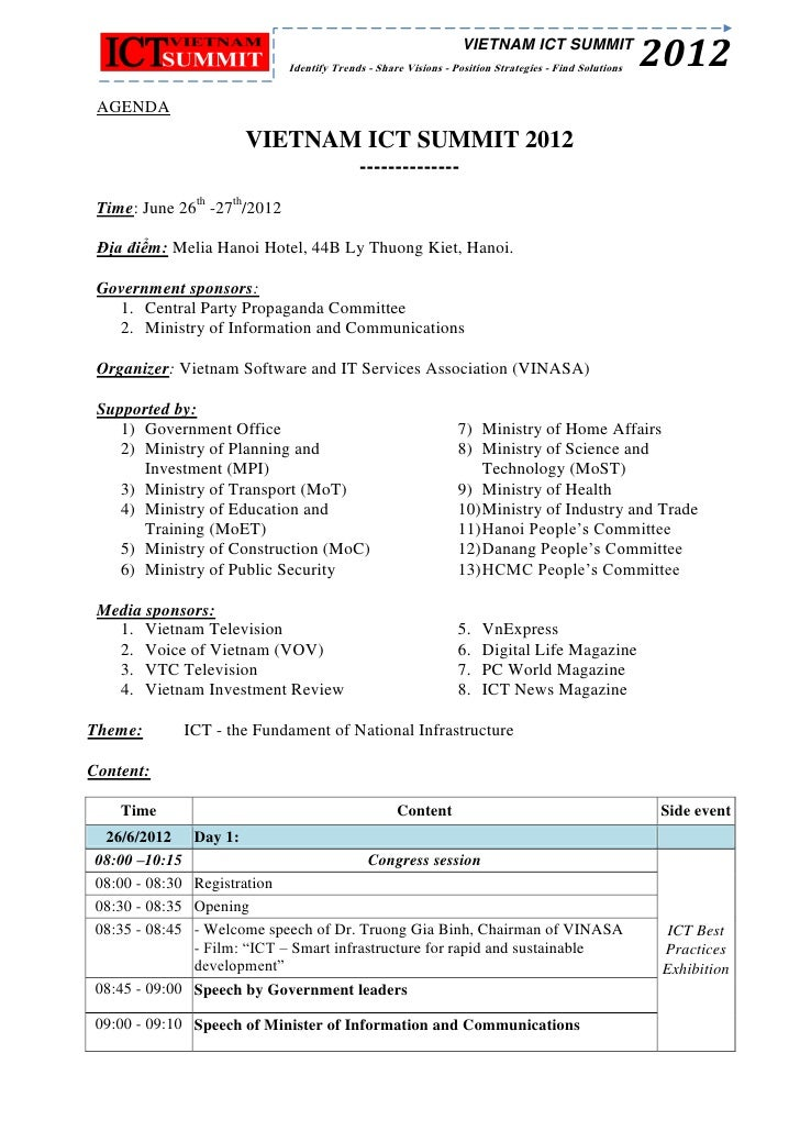 Vietnam ICT Summit 2012 itinerary - update 29 may