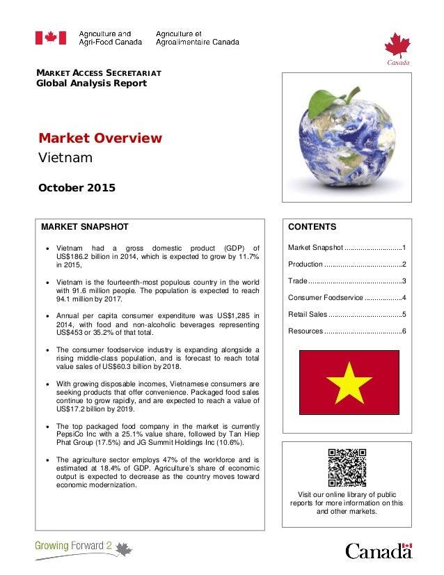 MARKET ACCESS SECRETARIAT Global Analysis Report Market Overview Vietnam October 2015 MARKET SNAPSHOT • Vietnam had a gros...