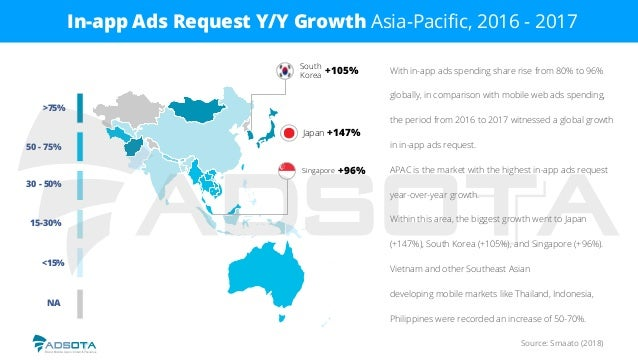 Source: Smaato (2018) In-app Ads Request Y/Y Growth Asia-Pacific, 2016 - 2017 With in-app ads spending share rise from 80% ...