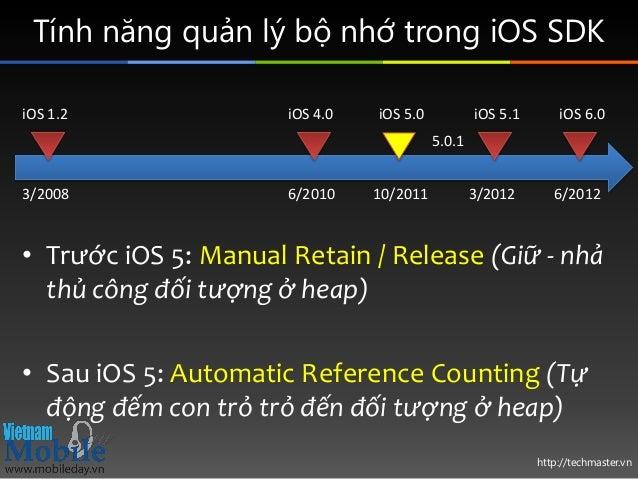 http://techmaster.vn Tính năng quản lý bộ nhớ trong iOS SDK • Trước iOS 5: Manual Retain / Release (Giữ - nhả thủ công đối...