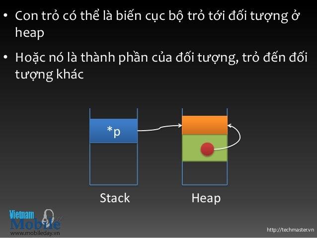 http://techmaster.vn • Con trỏ có thể là biến cục bộ trỏ tới đối tượng ở heap • Hoặc nó là thành phần của đối tượng, trỏ đ...