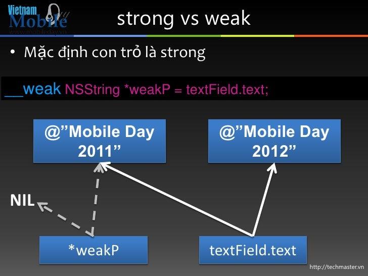 "strong vs weak• Mặc định con trỏ là strong__weak NSString *weakP = textField.text;      @""Mobile Day              @""Mobile..."