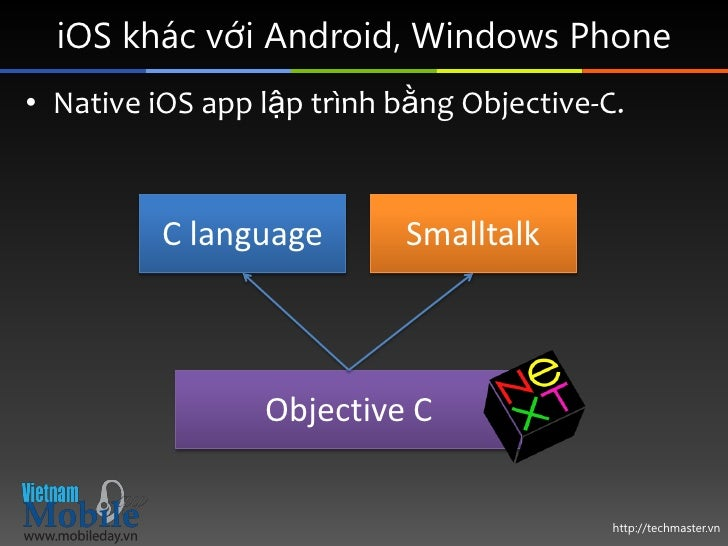 iOS khác với Android, Windows Phone• Native iOS app lập trình bằng Objective-C.          C language       Smalltalk       ...