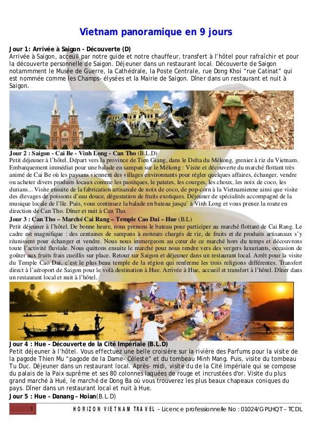 Vietnam panoramique en 9 joursJour 1: Arrivée à Saigon - Découverte (D)Arrivée à Saigon, acceuil par notre guide et notre ...