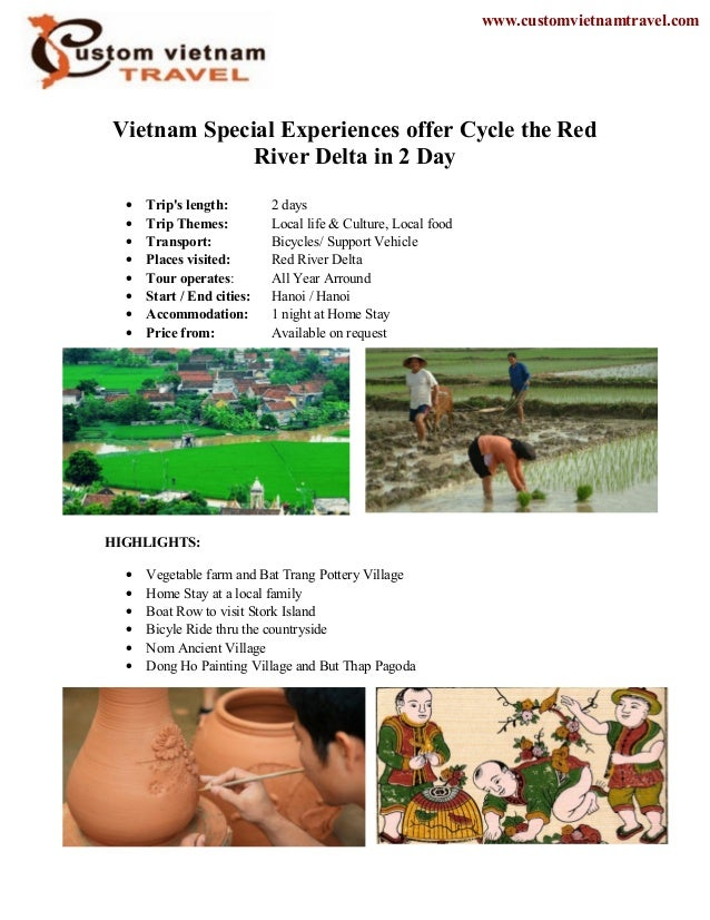 Vietnam Special Experiences offer Cycle the RedRiver Delta in 2 Day• Trips length: 2 days• Trip Themes: Local life & Cultu...
