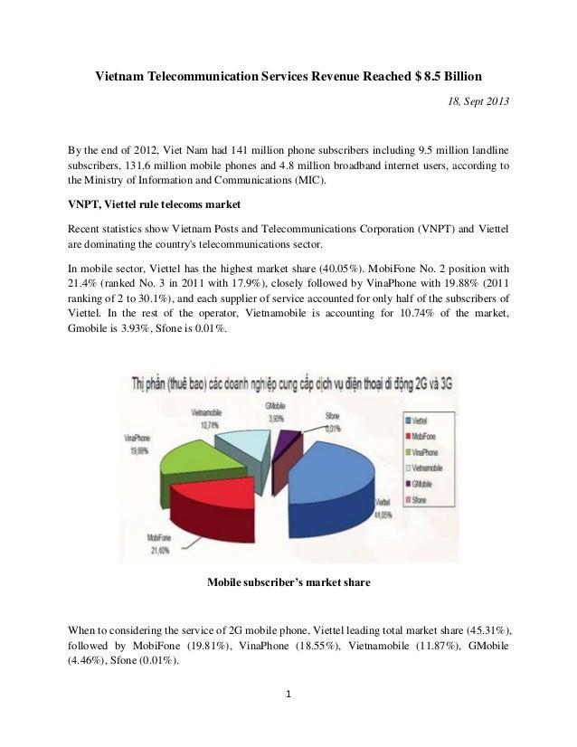 1 Vietnam Telecommunication Services Revenue Reached $ 8.5 Billion 18, Sept 2013 By the end of 2012, Viet Nam had 141 mill...