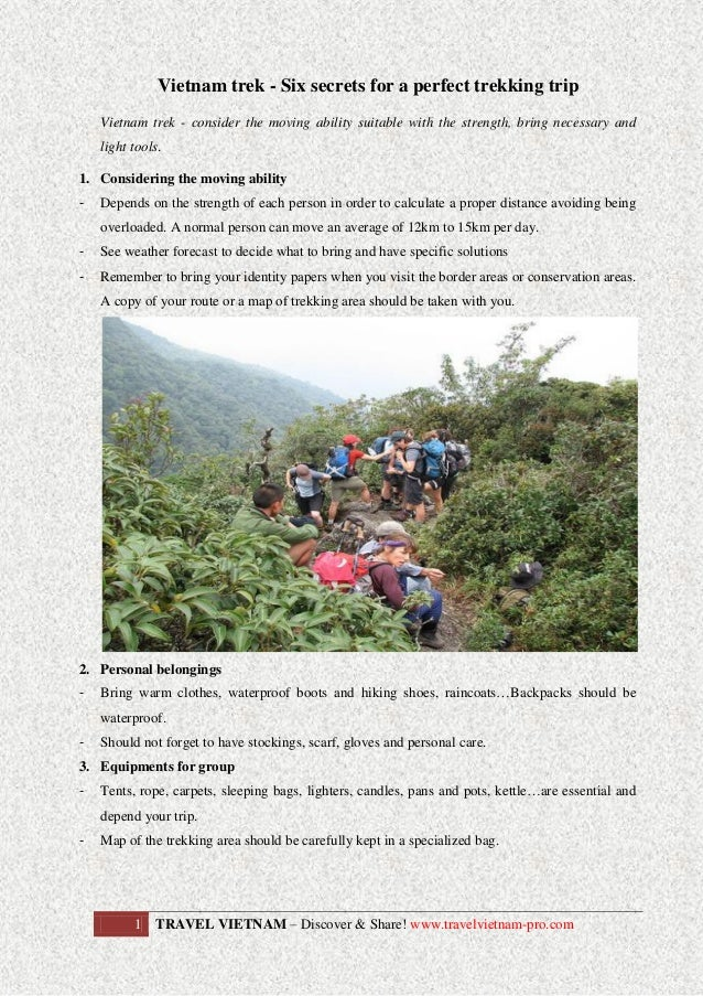 Vietnam trek - Six secrets for a perfect trekking trip Vietnam trek - consider the moving ability suitable with the streng...