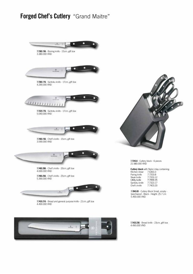 list of kitchen knives victorinox kitchen knives price list 2017 vnd 3264