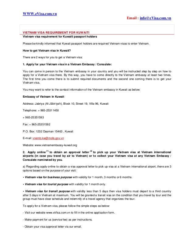 Vietnam visa requirement for kuwaiti