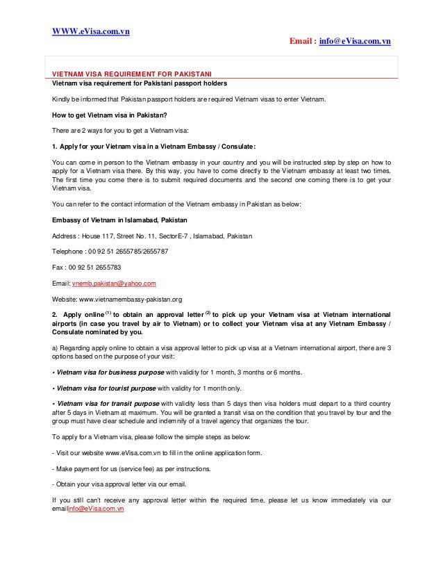 Vietnam visa requirement for pakistani