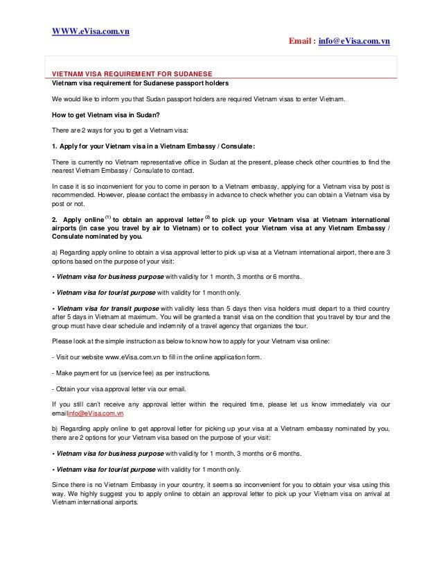 Vietnam Visa Requirement For Sudanese