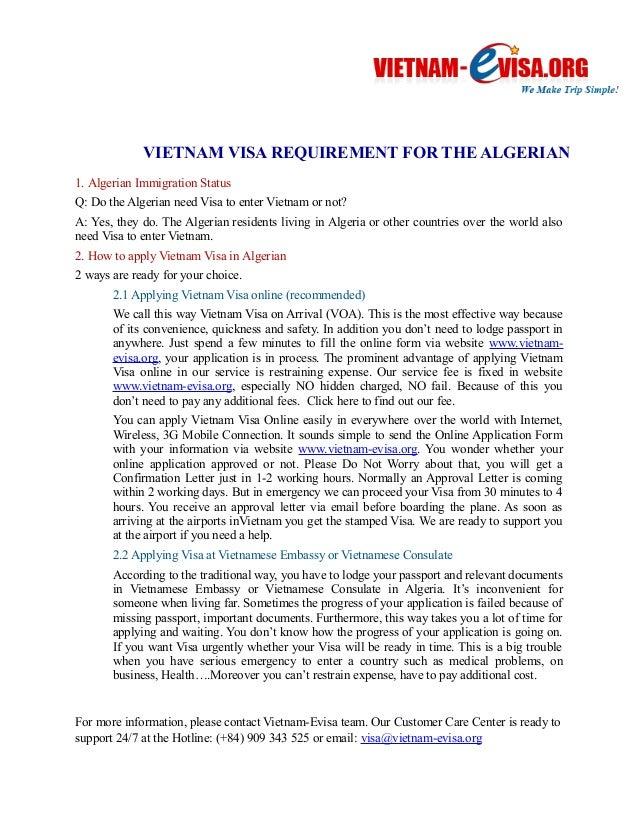 VIETNAM VISA REQUIREMENT FOR THE ALGERIAN  1. Algerian Immigration Status  Q: Do the Algerian need Visa to enter Vietnam o...