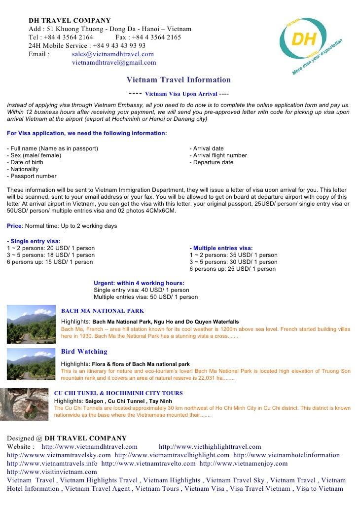 DH TRAVEL COMPANY         Add : 51 Khuong Thuong - Dong Da - Hanoi – Vietnam         Tel : +84 4 3564 2164        Fax : +8...