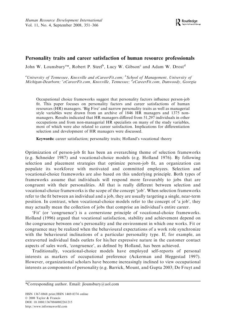Human Resource Development International Vol. 11, No. 4, September 2008, 351–366     Personality traits and career satisfa...