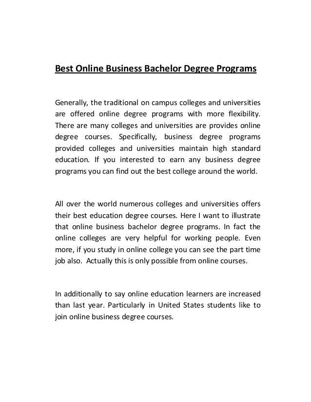 Best Online Business Bachelor Degree Programs