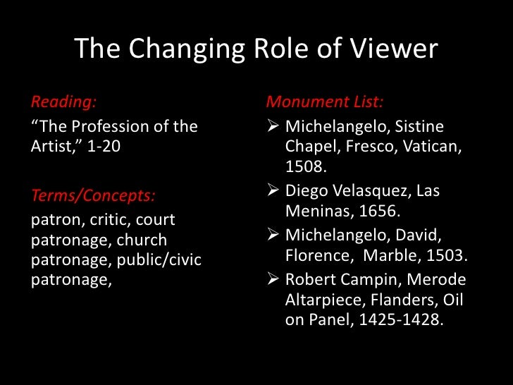 "The Changing Role of Viewer<br />Reading:<br />""The Profession of the Artist,"" 1-20<br />Terms/Concepts:<br />patron, crit..."