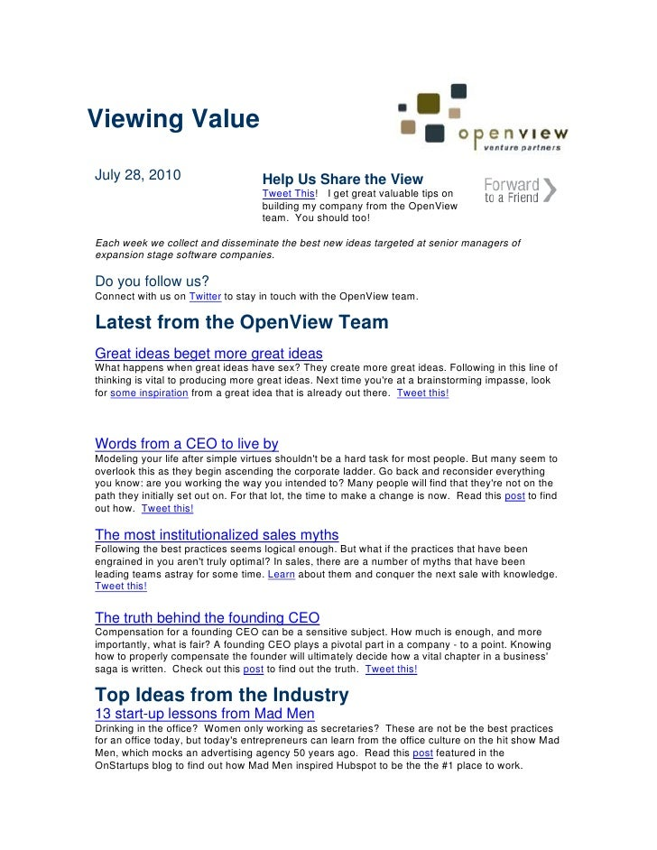 Viewing Value  July 28, 2010                       Help Us Share the View                                     Tweet This! ...