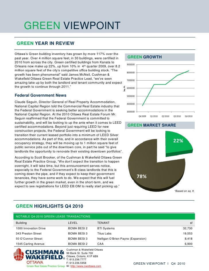 """GREEN VIEWPOINT GREEN YEAR IN REVIEWOttawa""""s Green building inventory has grown by more 117% over thepast year. Over 4 mil..."""
